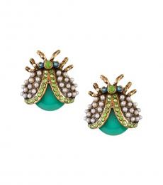 Dark Green Pearls Beetle Stud Earrings