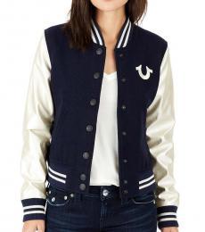 True Religion True Navy Horseshoe Varsity Jacket