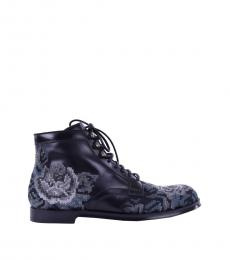 Dolce & Gabbana Black Grey Embroidered Boots