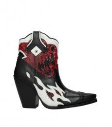 Valentino Garavani Black Pointed Toe Leather Boots