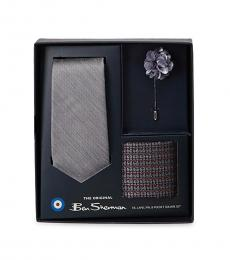 Grey Tie, Pin, & Pocket Square Set