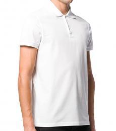 White Logo Print Polo