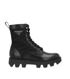 Prada Black Logo Combat Boots