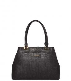 Black Hudson Embossed Logo Large Satchel