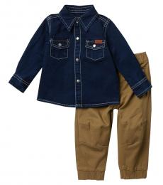 7 For All Mankind 2 Piece Shirt/Joggers Set (Baby Boys)