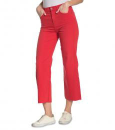 Red High Waist Crop Wide Leg Jeans