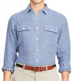 Ralph Lauren Blue Classic-Fit Gingham Linen Shirt