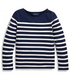 Little Girls Navy/Cream Striped Jersey Top