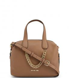 Love Moschino Light Brown Chain Large Satchel