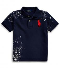 Little Boys French Navy Distressed Polo