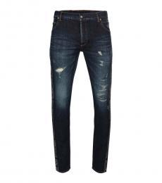 Balmain Dark Blue Logo Jeans