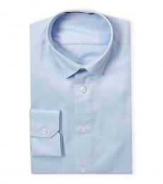 Roberto Cavalli Light Blue Sateen Slim Fit Dress Shirt