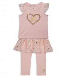 Juicy Couture 2 Piece Top/Skirted Leggings Set (Baby Girls)