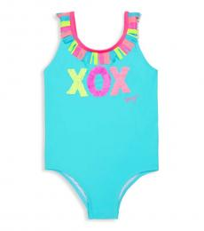 Betsey Johnson Little Girls Blue XOX One-Piece Swimsuit