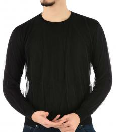 Black Solid Tulle Sweater