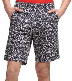 Navy Graphic Leaf Print Shorts