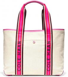 Cole Haan Natural Canvas-Super Pink Summer Large Tote