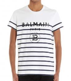 Balmain White Striped Logo T-Shirt