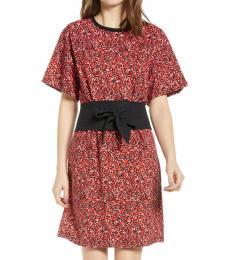 Red Marta Belted Floral Dress