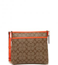 Coach Khaki Orange File Medium Crossbody