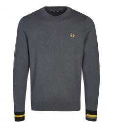 Fred Perry Dark Grey Logo Patch Sweater