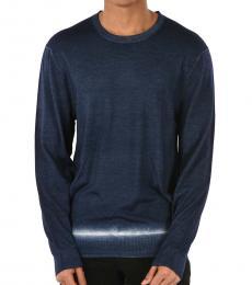 Neil Barrett Dark Blue Bleached Crewneck Sweater