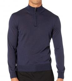 Canali Dark Blue Zip Merino Wool Sweater