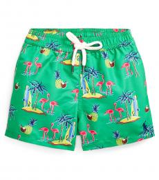 Ralph Lauren Baby Boys Green Traveler Tropical Swim Trunk