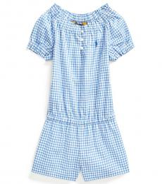 Ralph Lauren Little Girls Blue Gingham Poplin Romper