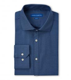 Navy Blue Stripe Slim Fit Dress Shirt