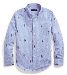 Boys Blue Boating Bear Seersucker Shirt