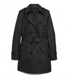 Black Solid Trench Coat