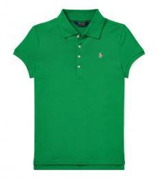 Girls Golf Green Mesh Polo