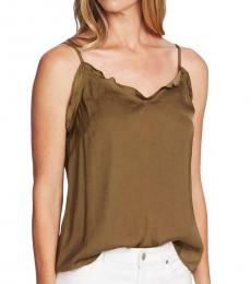Green Oasis Satin Ruffled Camisole Top