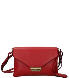 Red Foldover Medium Crossbody