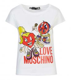 Love Moschino White Graphic Print T-Shirt