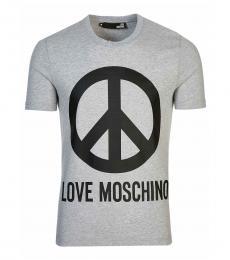 Love Moschino Grey Graphic Logo T-Shirt