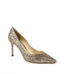 Jimmy Choo Gold Coarse Glitter Heels