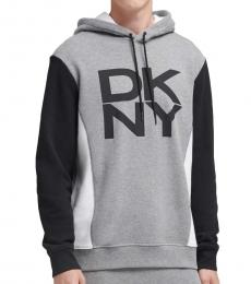DKNY Heather Grey Color Block Logo Hoodie
