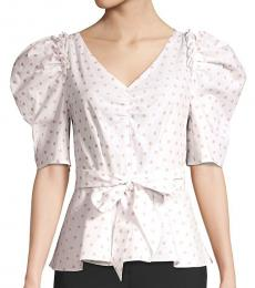 Kate Spade Cream Rose Polka Dot Drape Peplum Blouse
