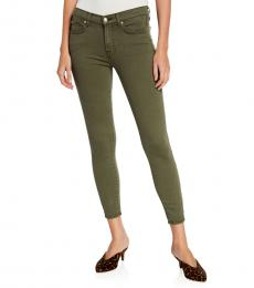 7 For All Mankind Green Ankle Squiggle-Pocket Jeans