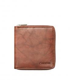 Calvin Klein Brown Zip-Around Rfid Billfold Wallet