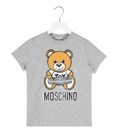 Moschino Little Boys Grey Logo T-Shirt