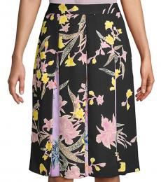 Diane Von Furstenberg Black Multi Floral Pleated Skirt