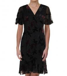 Ralph Lauren Dark Grey Petite Chiffon Evening Dress