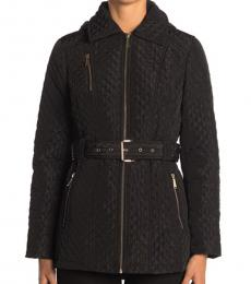 Michael Kors Black Quilted Zip Front Belted Jacket