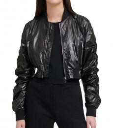 DKNY Black Ruched Sleeves Bomber