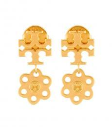Tory Burch Gold Logo Charm Stud Earrings
