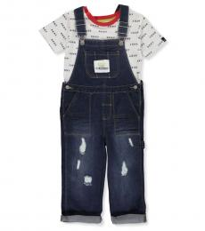DKNY 2 Piece T-Shirt/Overalls Set (Little Boys)