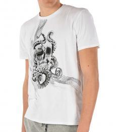 Just Cavalli White Skull Printed T-Shirt